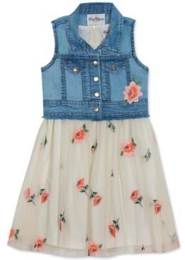 Rare Editions Big Girls 2-Pc. Denim Vest & Embroidered Floral Mesh Dress