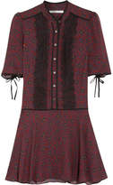 Veronica Beard Alana Lace-trimmed Printed Silk-chiffon Mini Dress - Burgundy