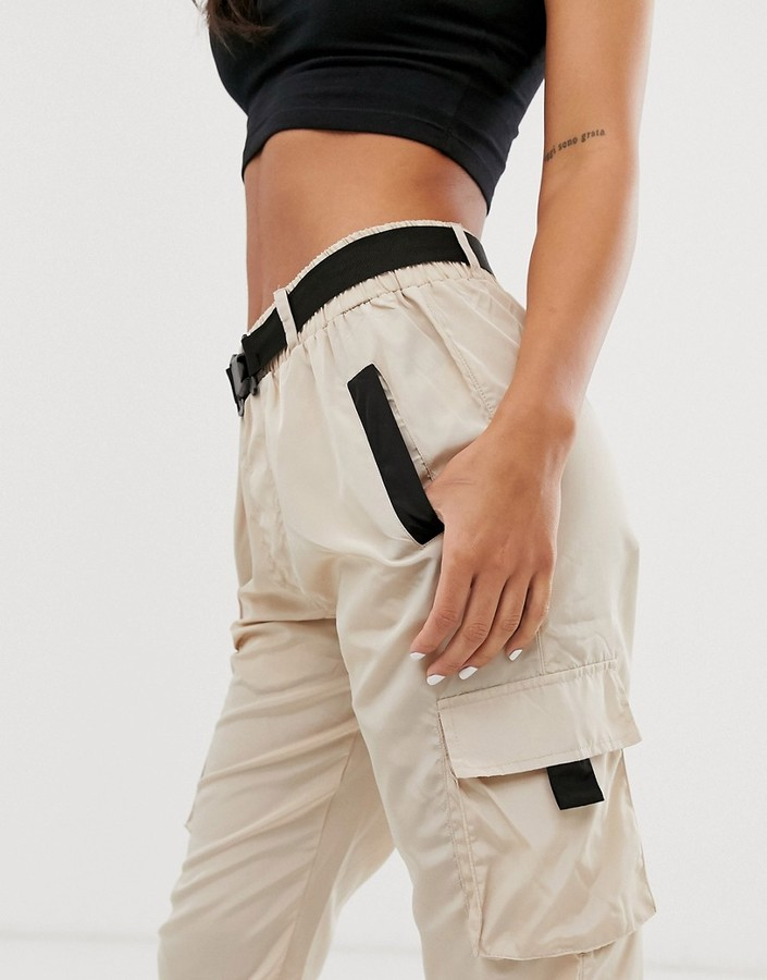 Thumbnail for your product : Qed London elasticated cuff cargo pants in stone