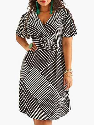 Yumi Curves Ruched Striped Jersey Dress, Black