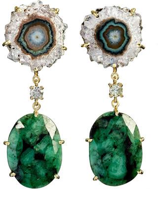 Jan Leslie 18k Bespoke 2-Tier Tribal Luxury Earrings w/ Purple Stalactite, Faceted Emeralds & Diamonds