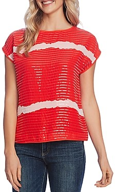 Vince Camuto Striped Sequined Top