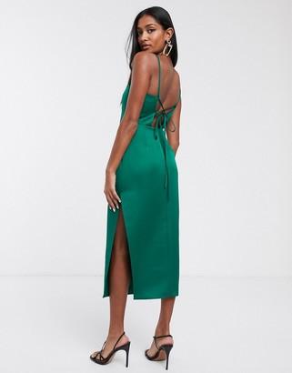 Asos Design DESIGN structured satin strappy back pencil midi pencil dress-Green
