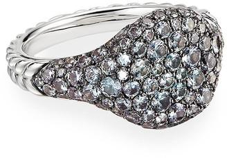 David Yurman Mini Chevron Pave Garnet Pinky Ring in 18k White Gold, Size 4