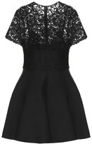 Valentino Lace-trimmed silk and wool minidress