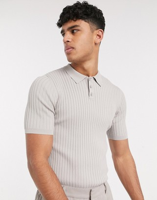 ASOS muscle fit knitted polo tee in beige