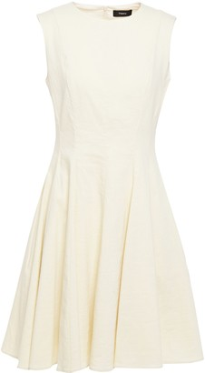 Theory Flared Linen-blend Mini Dress