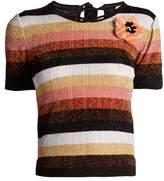 Fendi Fur-appliqué striped wool-blend knit top