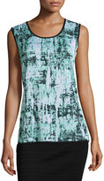 Ming Wang Reversible Printed Scoop-Neck Tank, Multi