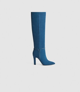 Reiss Eline - Suede Knee High Boots in Blue