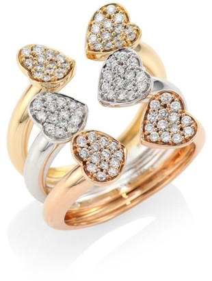 Hueb Hearts Diamond & 18K Tri-Tone Gold Open Ring