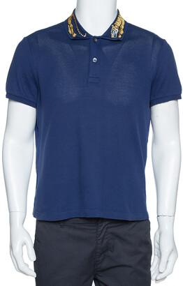 Gucci Navy Blue Cotton Pique Tiger Embroidered Collar Polo T Shirt M