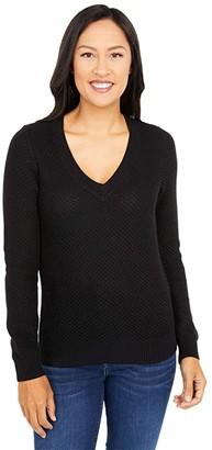 MICHAEL Michael Kors Textured Easy V-Neck (Black) Women's Clothing