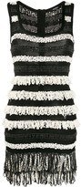Balmain fringed sleeveless mini dress