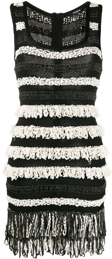 Balmain Fringed Sleeveless Mini Dress
