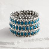 Silver and Blue Three Row Stretch Bracelet