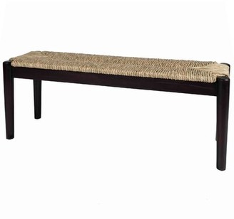 Three Posts Malmesbury Wood Bench Color: Dark Natural Wood Finish Frame with Seagrass Woven
