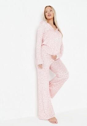 Missguided Pink Leopard Print Maternity Shirt And Pyjama Bottoms Set