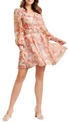 Ever New Coral Sunrise Floral Print Long Sleeve Minidress