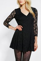 Urban Outfitters Pins And Needles Long-Sleeve Lace Skater Dress