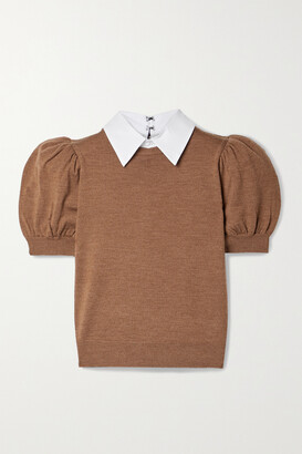 Alice + Olivia - Chase Poplin-trimmed Stretch-wool Sweater - Brown