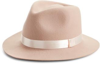 Rachel Parcell Satin Ribbon Wool Felt Hat