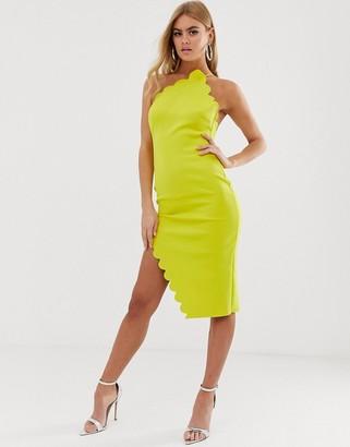 Asos Design DESIGN Scallop halter one shoulder midi dress-Yellow