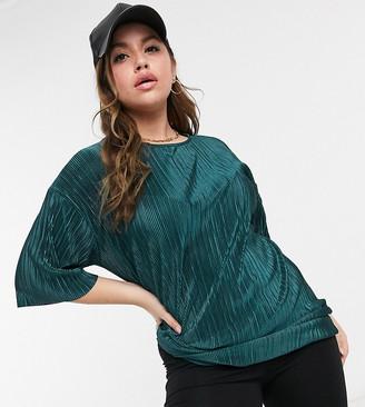 ASOS DESIGN Curve plisse t-shirt in dark green