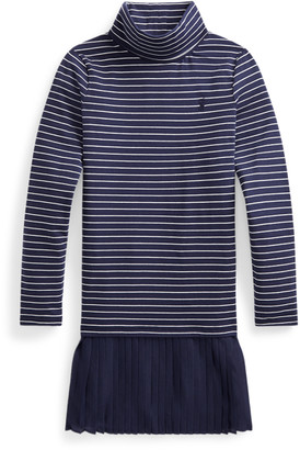 Ralph Lauren Pleated-Skirt Roll Neck Dress