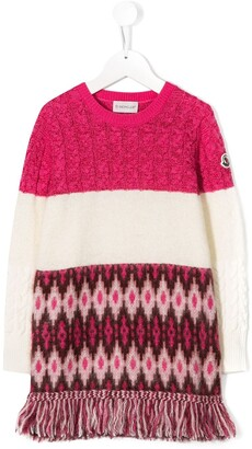 Moncler Enfant Contrast Knit Jumper Dress