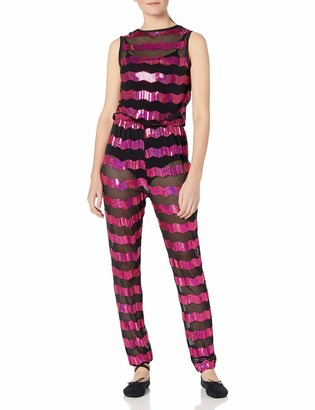 Gia Mia Dance Gia-Mia Dance Women's Sequin Stripe Jumper Dance Stretch Mesh Costume Performance Team