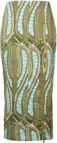 Sophie Theallet leaf print fitted skirt - women - Cotton - 6