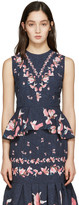 Erdem Navy Queenie Tank Top