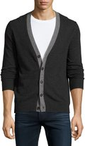 Neiman Marcus Cashmere Button-Front Cardigan, Charcoal