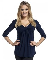 Glamour Empire. Womens Silky Top Bow Bust V-Neck Empire Waist 3/4 Sleeves. 153 (