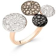 Pomellato 18K Rose Gold Sabbia Black, Brown & White Diamond Pave Disc Cuff Ring