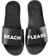 Schutz Shoes Beach Please Leather Slide Sandal, Black/White
