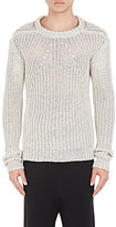 Rick Owens Men's Cotton Fisherman-Knit Sweater-LIGHT GREY