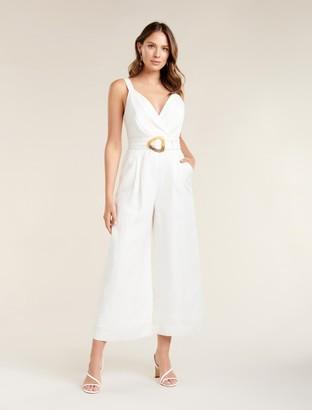 Forever New Kira Belted Linen Jumpsuit - Porcelain - 10