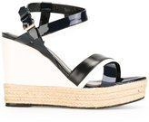 Lanvin patent wedge sandals - women - Raffia/Leather/Patent Leather - 36