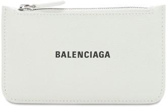 Balenciaga Grained Leather Zip Card Holder