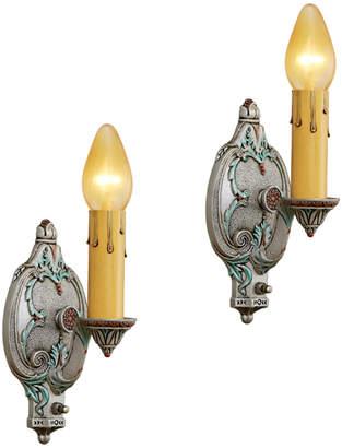 Rejuvenation Pair of Ornate Candlestick Sconces
