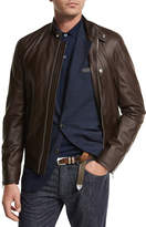 Brunello Cucinelli Lamb Leather Pilot Jacket, Brown