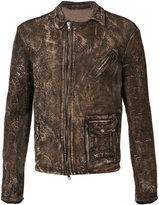 Salvatore Santoro - distressed jacket - men - Leather - 48