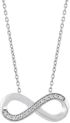 FINE JEWELRY 241 Wear It Both Ways Womens Lab Created White Sapphire Sterling Silver Infinity Pendant Necklace