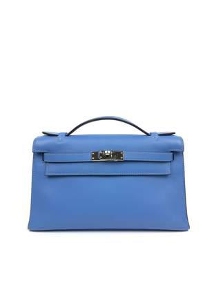 Hermes Kelly Clutch Blue Leather Clutch bags