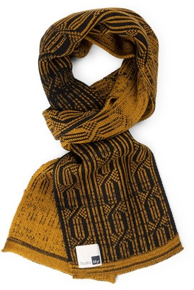 Studio Myr Luxurious Knitted Cotton Scarf With Graphical Pattern In Classical Colours Elements - Wood