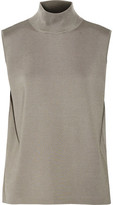 Dion Lee Draped Open-Back Stretch-Knit Turtleneck Top
