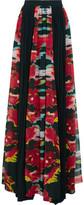 Just Cavalli Pleated Printed Georgette Maxi Skirt
