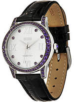 Ecclissi Facets Stainless Gemstone &Leather Strap